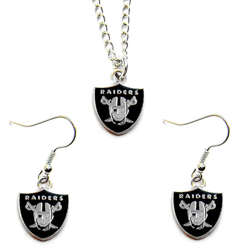 Oakland Raiders Necklace - Logo Charm Necklace & Earrings Set