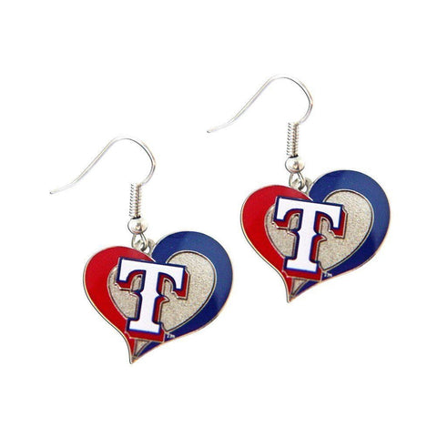 Texas Rangers Swirl Heart Dangle Earrings