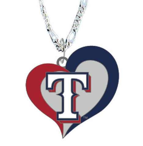 Texas Rangers Swirl Heart Logo Necklace