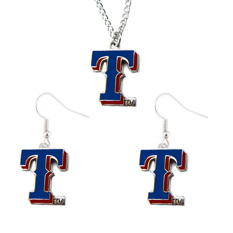 Texas Rangers Logo Charm Necklace & Earrings Set