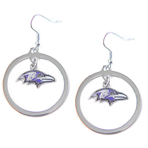Baltimore Ravens Earrings - Hoop Logo Dangle Earrings