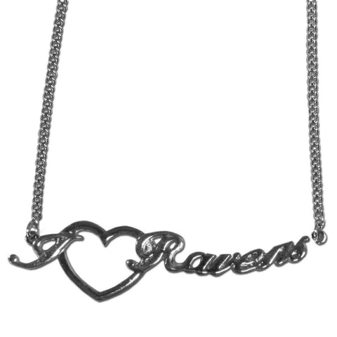 Baltimore Ravens Necklace - Heart Script Necklace