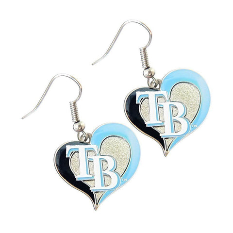 Tampa Bay Rays Swirl Heart Dangle Earrings