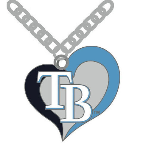 Tampa Bay Rays Swirl Heart Logo Necklace