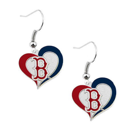 Boston Red Sox Earrings - Swirl Heart Dangle Earrings