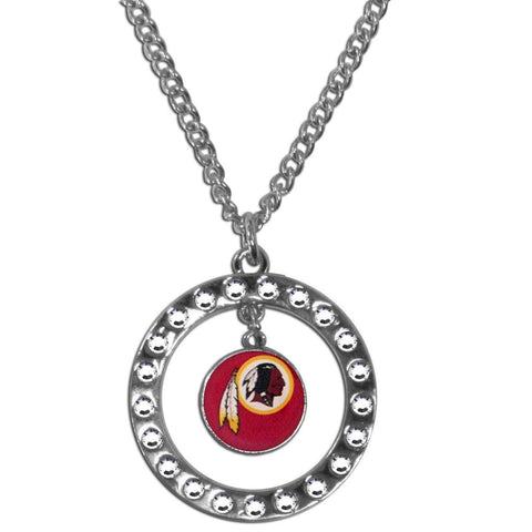 Washington Redskins Necklace - Rhinestone Hoop Necklace