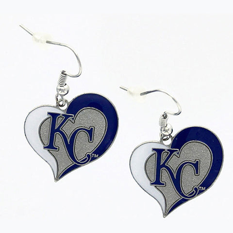 Kansas City Royals Earrings - Swirl Heart Dangle Earrings