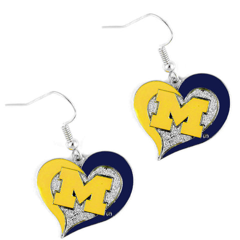 Michigan Wolverines Earrings - Swirl Heart Dangle Earrings