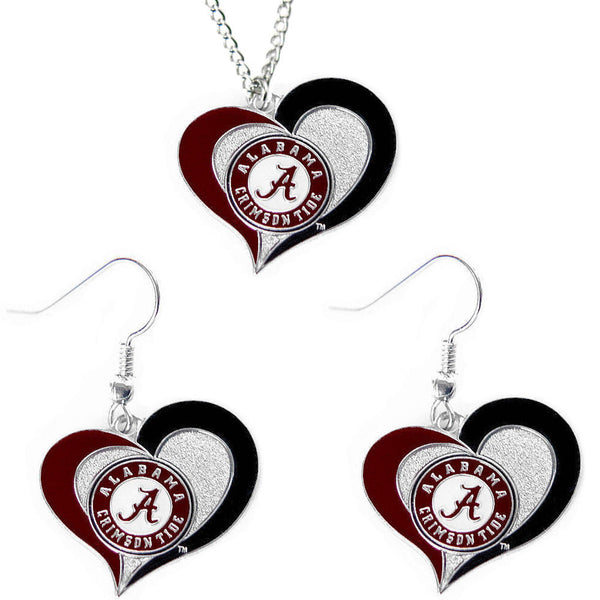 Alabama Crimson Tide Necklace & Earrings Set - Swirl Heart