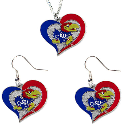 Kansas University Jayhawks Necklace - Swirl Heart Necklace & Earrings Set