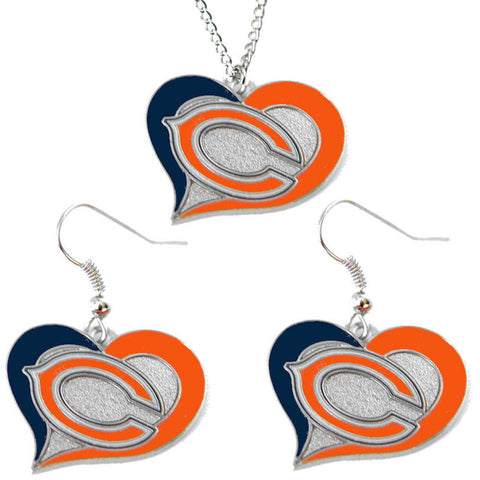Chicago Bears Necklace - Swirl Heart Necklace & Earrings Set