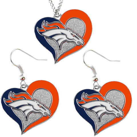 Denver Broncos Necklace - Swirl Heart Necklace & Earrings Set