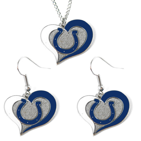 Indianapolis Colts Necklace - Swirl Heart Necklace & Earrings Set