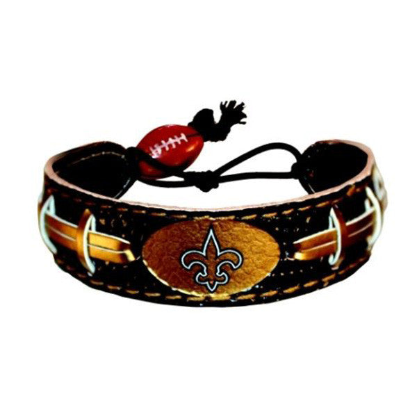 New Orleans Saints Leather Football Bracelet