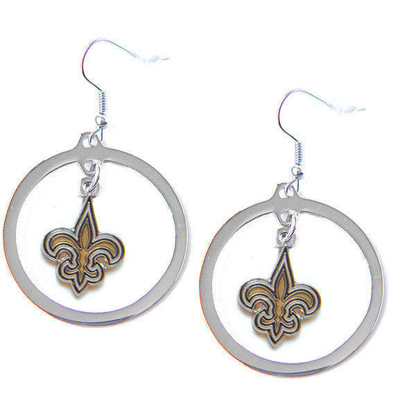 New Orleans Saints Hoop Logo Dangle Earrings