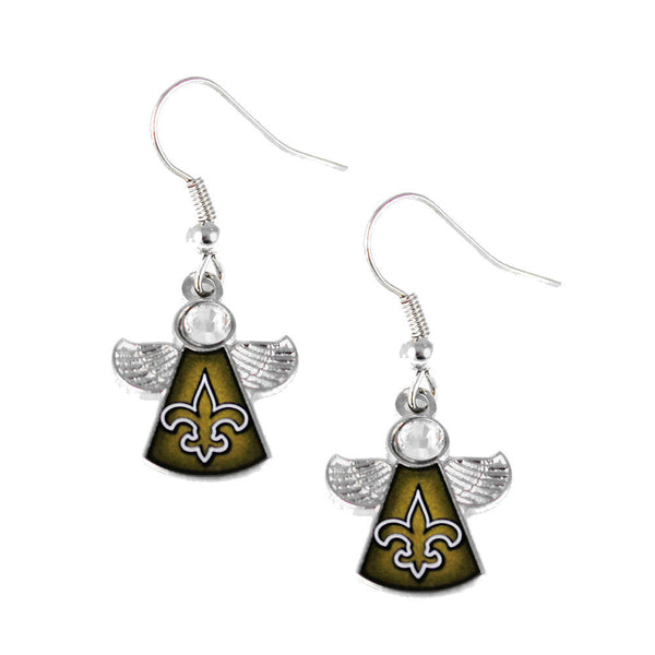 New Orleans Saints Crystal Angel Dangle Earrings