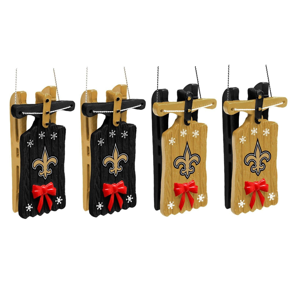 New Orleans Saints Christmas Ornaments.New Orleans Saints Sleigh Hanging Christmas Ornaments Set Of 4