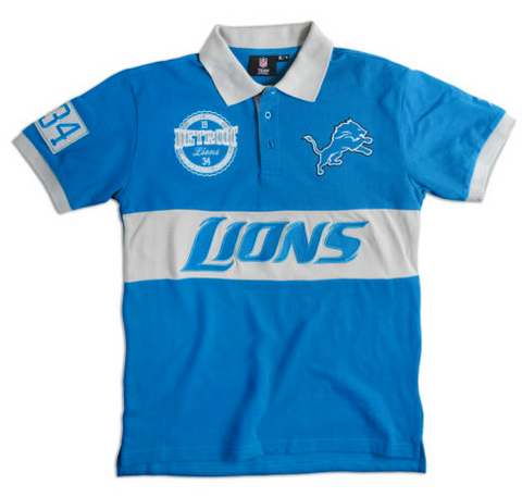 Detroit Lions Shirt - Logo Cotton Wordmark Rugby Shirt