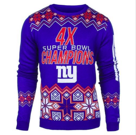 New York Giants Sweater - Super Bowl Commemorative Crew Neck Sweater