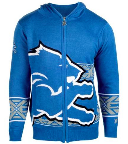 Detroit Lions Sweater - Big Logo Full-Zip Hoodie