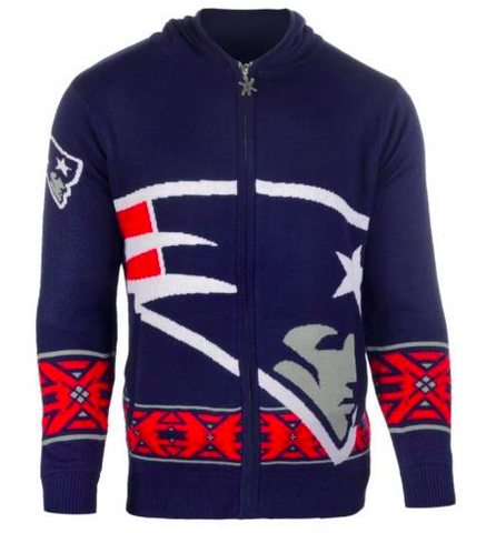 New England Patriots Sweater - Patriots Big Logo Full-Zip Hoodie - Men's