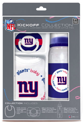 New York Giants Baby Gift Set Collection - Bib Pacifier & Bottle