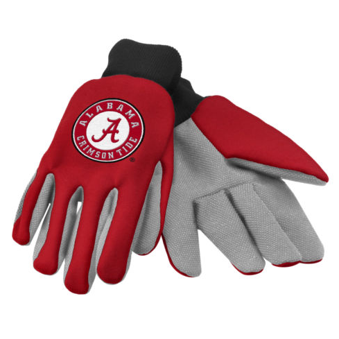 Alabama Crimson Tide Gloves - Colored Palm Utility Work Gloves
