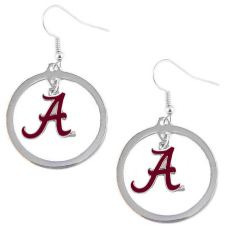 Alabama Crimson Tide Earrings - Hoop Logo Dangle Earrings