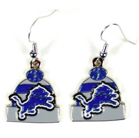 Detroit Lions Earrings - Knit Hat Dangle Earrings