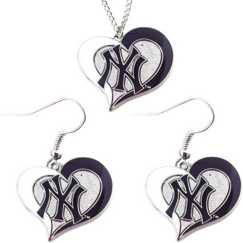 New York Yankees Necklace - Swirl Heart Necklace & Earrings Set