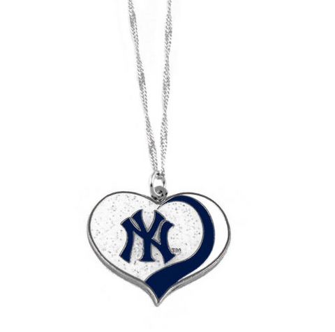 New York Yankees Necklace - Glitter Swirl Heart Logo Necklace