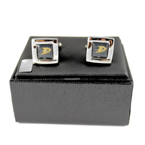 Anaheim Ducks Cuff Links - Wedding grooms gift set -Square