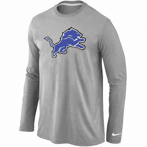Detroit Lions Shirt - Long Sleeve - Logo Grey