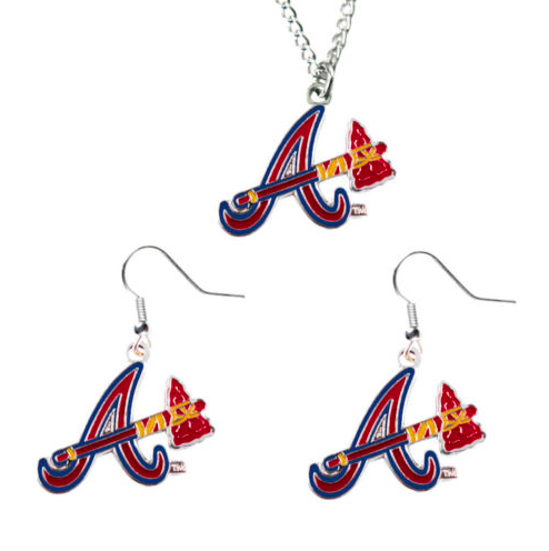 Atlanta Braves Necklace - Logo Charm Necklace & Earrings Set