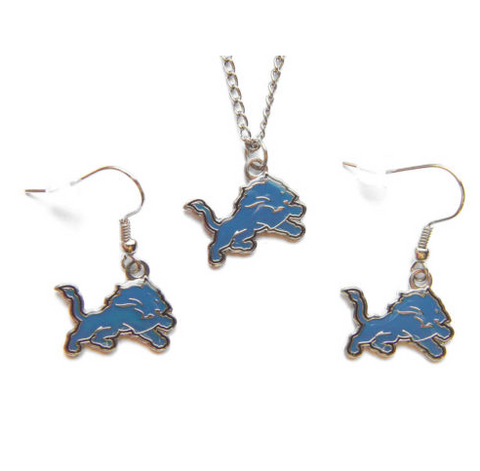 Detroit Lions Logo Charm Necklace & Earrings Set