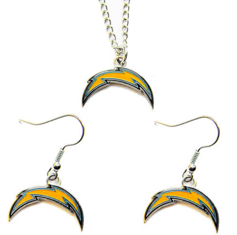 Los Angeles Chargers Logo Charm Necklace & Earrings Set