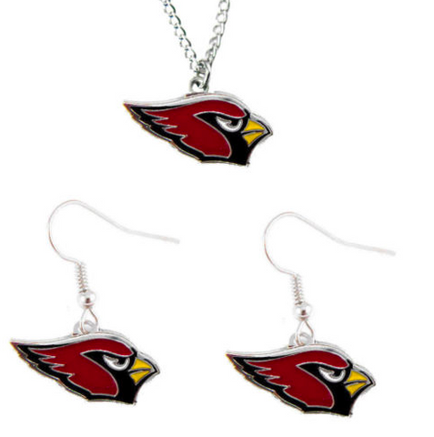 Arizona Cardinals Logo Charm Necklace & Earrings Set
