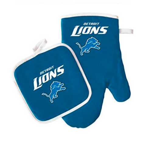 Detroit Lions Oven Mitt & Pot Holder Barbecue Set