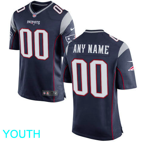 New England Patriots Jersey - Youth Navy Custom Game Jersey