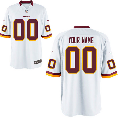 Washington Redskins Jersey - Men's White Custom Game Jersey