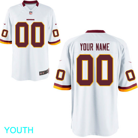 Washington Redskins Jersey - Youth White Custom Game Jersey