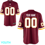 Washington Redskins Jersey - Youth Burgundy Custom Game Jersey