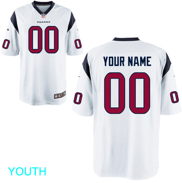 buy online bbe47 6c855 Houston Texans Jersey - Youth White Custom Game Jersey