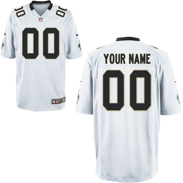promo code 53ba9 e4b5e New Orleans Saints Jersey - Men's White Custom Game Jersey