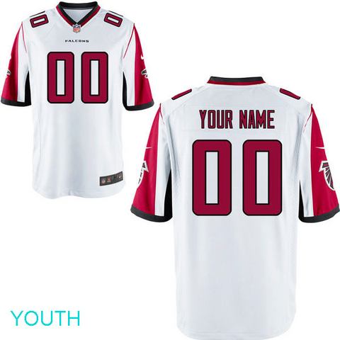 Atlanta Falcons Jersey - Youth White Custom Game Jersey