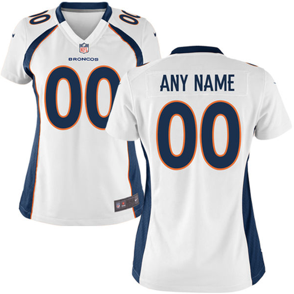 wholesale dealer cea9b ee237 Denver Broncos Jersey - Women's White Custom Game Jersey