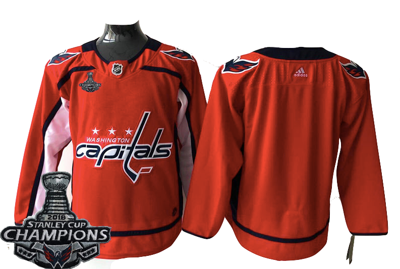new product 7f015 452c2 Washington Capitals Jersey - Blank Red w/ Stanley Cup Champions Patch