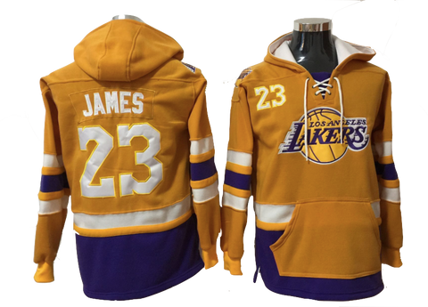 79cd29471ba Los Angeles Lakers Lacer - LeBron James Yellow Pullover Hoodie