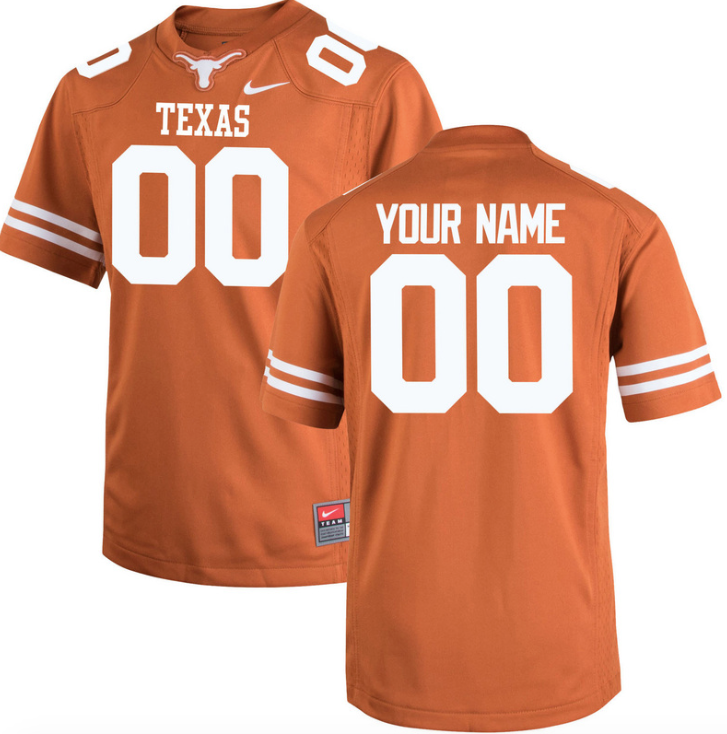 cheap for discount 37089 ac41b Texas Longhorns Jersey - Custom Burnt Orange Jersey - Any Name and Number
