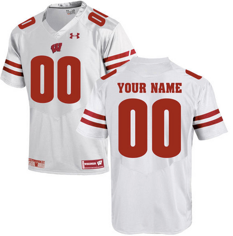 Wisconsin Badgers Jersey - Custom UA White Jersey - Any Name and Number